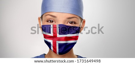 Icelandic flag Iceland COVID-19 panoramic banner Corona virus outbreak pandemic doctor woman wearing Stock photo © Maridav