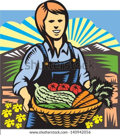 Organik çiftçi sebze çiftlik üretmek Retro Stok fotoğraf © patrimonio