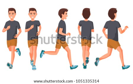 Young sportive guy running, man training to run, runner in t-shirt and short run behind meadow Stock photo © robuart