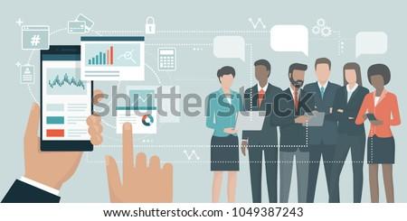 Business communication and collaboration app interface template. Stock photo © RAStudio