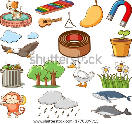 Large set of different animals and other objects on white backgr Stock photo © bluering