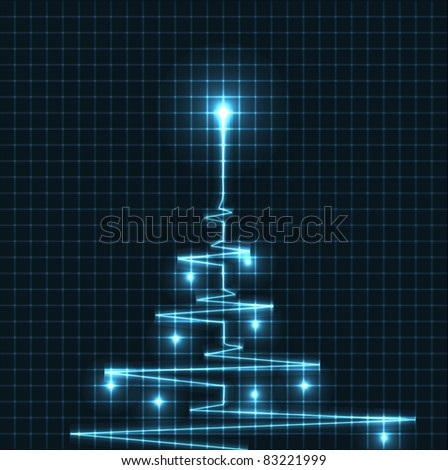 Abstract Christmas tree from heart beats cardiogram illustration - vector Stock photo © orson