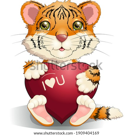 Graphic Vector Image of a Happy Cute Tiger Mascot holding sign  stock photo © chromaco
