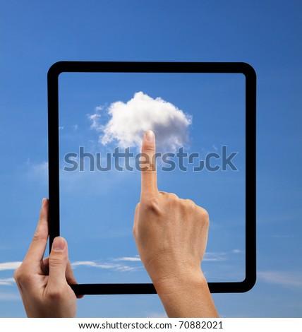 Nube toque concepto mano vector negocios Foto stock © fotoscool