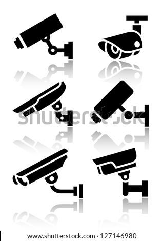 cctv labels video surveillance set button stock photo © ecelop