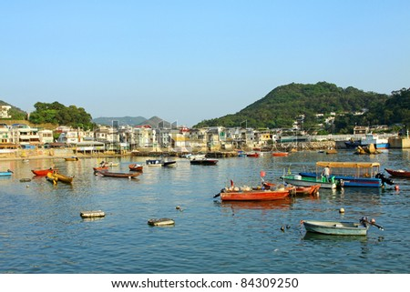 coastal area with many fishing boats in lamma island hong kong stock photo © kawing921