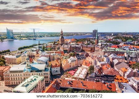Riga Látvia casa edifício cidade urbano Foto stock © SRNR