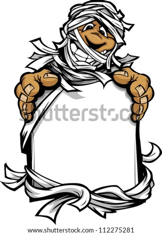 Happy Mummy Halloween Monster Holding Sign Cartoon Vector Illust Foto stock © ChromaCo