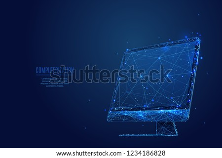blue dotted background with flat computer monitor with passenger stock photo © leonido