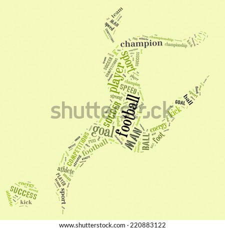 football player pictogram with green words on green background stock photo © seiksoon