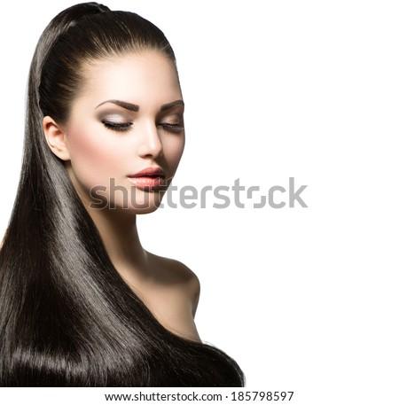 divat · modell · kreatív · hajviselet · egészséges · fekete · haj - stock fotó © gromovataya