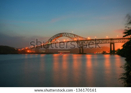Beautiful bridge connected South and North Americas (Puente de l Stock photo © dacasdo