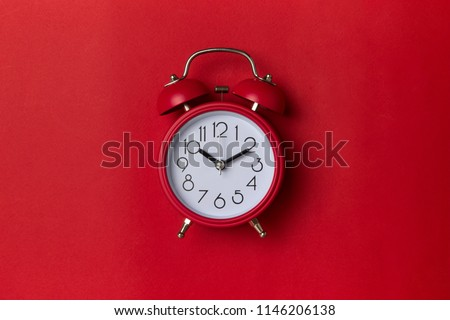 close up of a red bell clock alarm clock isolated on white bac stock photo © tetkoren