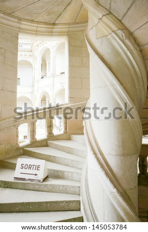 vanishing point of view of double-helix staircase in the castle of Chambord, planned by Leonard da V Stock photo © wjarek