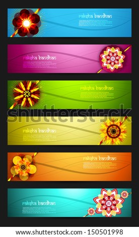 Raksha Bandhan celebration bright colorful six headers vector de Stock photo © bharat