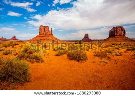 giant sandstone formation in the Monument valley in the intensiv Stock photo © meinzahn