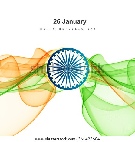 Republic day stylish indian flag tricolor wave colorful vector b Stock photo © bharat