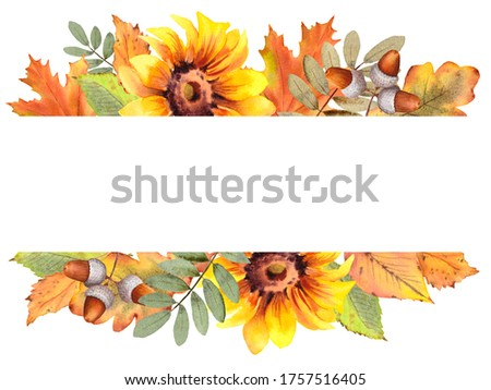 Arrangement of autumn leaves, nuts and berries and painting equi stock photo © TheFull360