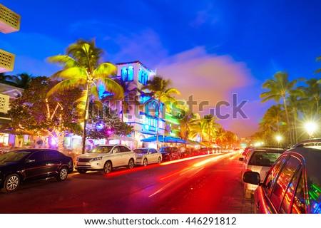 Foto stock: Noche · vista · océano · unidad · Miami · playa