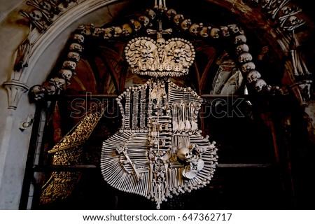 human skulls and bones inside sedlec ossuary kostnice cemetery church of all saints in sedlec kutn stock photo © burchenko