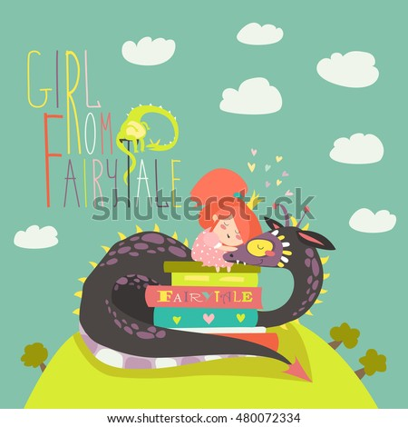 Cute little princess and dragon, Happy Saint George. vector illustration Stock photo © carodi