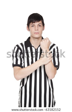 Young adult man in referee uniform making holding penalty sign Stock photo © dgilder