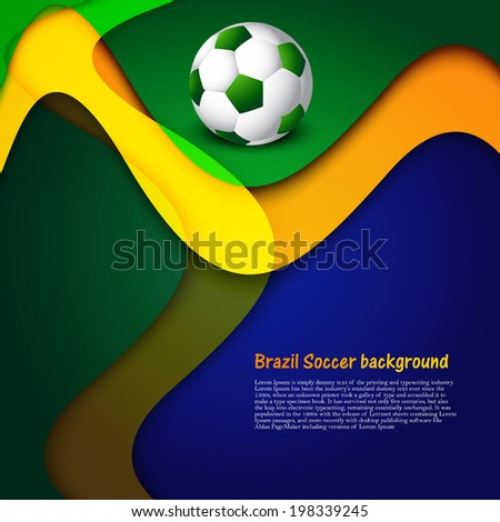 brazil stylish wave colors concept soccer ball background illust stock photo © bharat