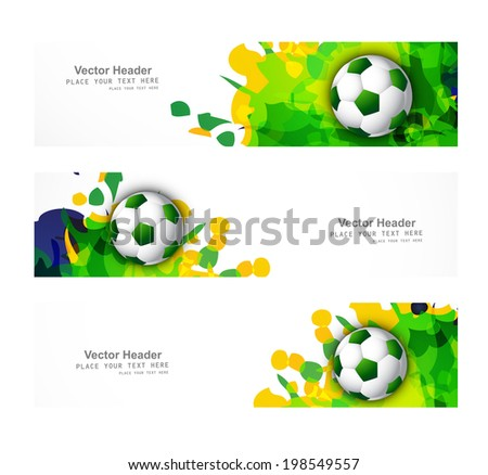 Brazil flag colors three header set splash grunge soccer ball wh Stock photo © bharat