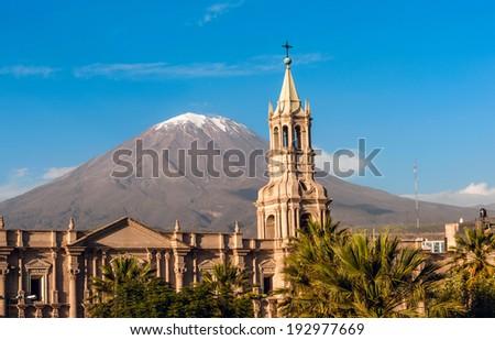 Volcano El Misti overlooks the city Arequipa in southern Peru. A Stock photo © xura