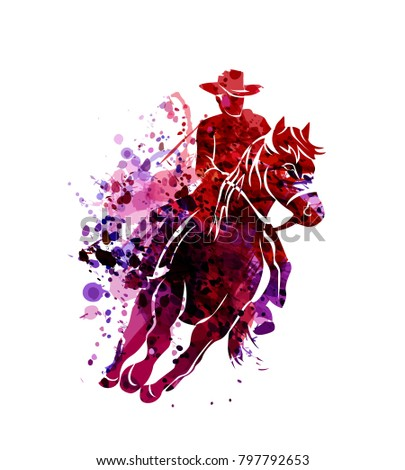 Horse  rider silhouettes. Colored Vector illustration for design Stock photo © leonido