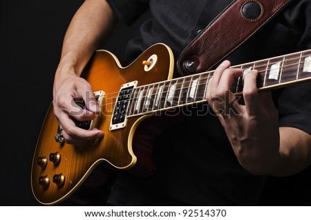 Férfi zenész arc játszik elektromos basszus Stock fotó © feelphotoart