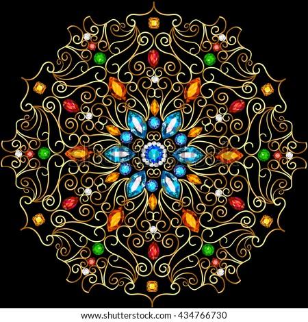 Goud ornamenten kostbaar stenen illustratie Stockfoto © yurkina