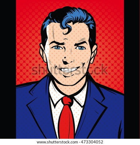 happy man smiling businessman entertainer artist pop art comics stock photo © studiostoks