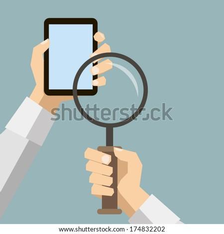 мобильного телефона увеличительное стекло поиск икона дизайна долго Сток-фото © WaD