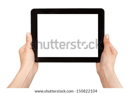 Női kezek tart tabletta érintés számítógép Stock fotó © tetkoren