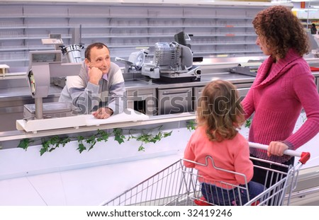 Foto d'archivio: Bambino · annoiato · venditore · shop · vuota
