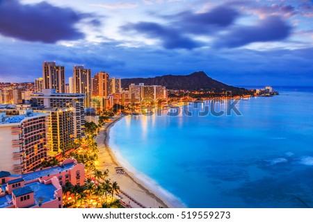 seashore pacific ocean waikiki beach oahu hawaii diamond head stock photo © cboswell