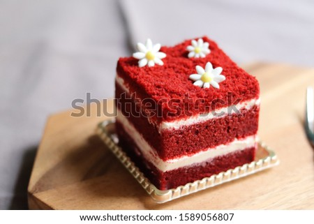 Red Velvet, fresh delicious diet cake with red currant at Dukan Diet on a porcelain plate with a spo Stock photo © mcherevan