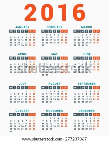 календаря 2016 белый неделя простой вектора Сток-фото © rommeo79