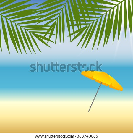 Yellow parasol at the beach under palm trees. Vector illustration Stock photo © gladiolus
