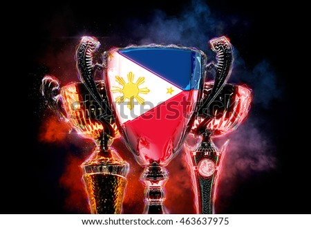 Trophy cup textured with flag of Philippines. 2D Digital illustr Stock photo © Kirill_M