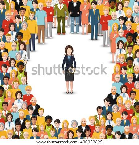 деловая женщина отдельно толпа иллюстрация белый женщину Сток-фото © Evgeny89