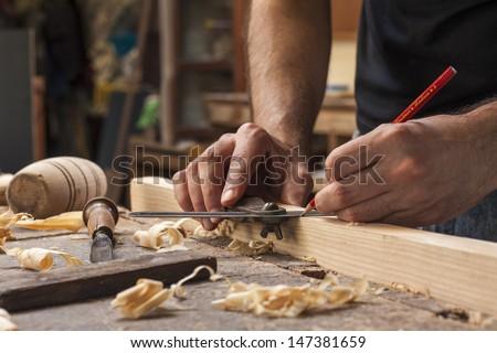 férfi · ács · dolgozik · fa · ceruza · munka - stock fotó © Bigbubblebee99