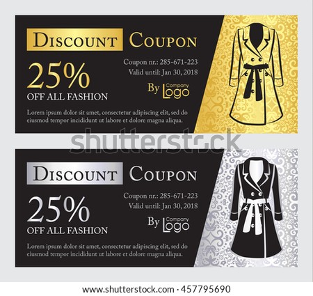 Fashion discount coupon with line illustration of pumps on gold and silver background with damask pa Stock photo © liliwhite