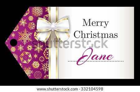 Luxury pink Christmas name tag with golden snowflakes and white ribbon Stock photo © liliwhite