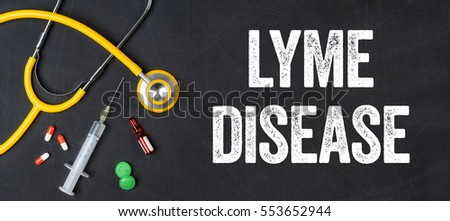Stethoscope and pharmaceuticals on a blackboard - Lyme Disease Stock photo © Zerbor