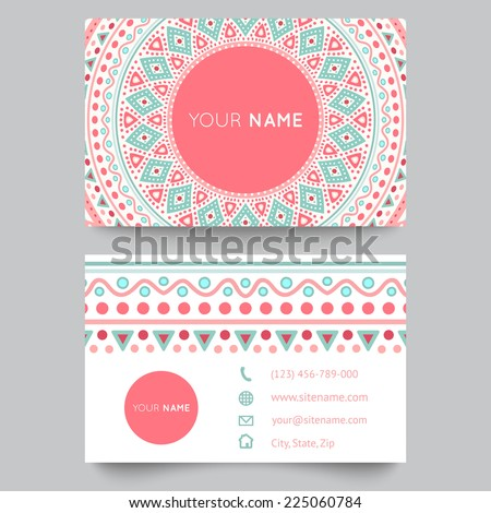 pink business card template stationery with abstract lines patte Stock photo © SArts