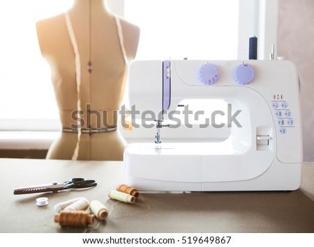 Alfaiate oficina branco máquina de costura moda pormenor Foto stock © Yatsenko