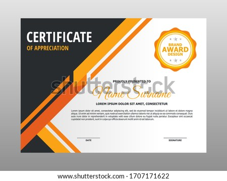 Certificat modèle de conception propre modernes orange noir Photo stock © SArts