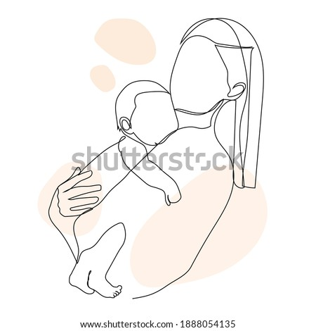 Breastfeeding poster template. Vector line illustration of breast feeding, baby infant food. Nursery Stock photo © Nadiinko